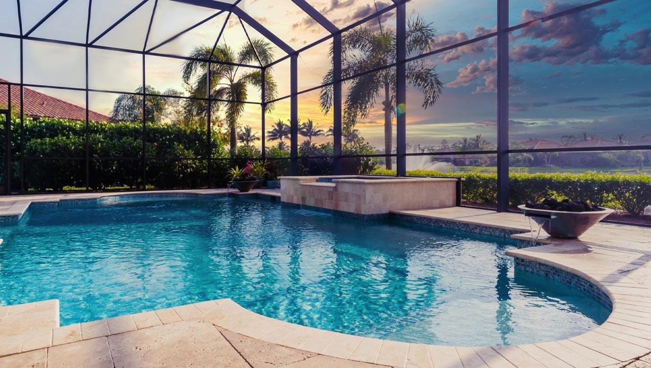 Pool with Cage | Edgewater Pools and Spa Services - Naples, Bonita Springs, Isles of Capri, & Estero