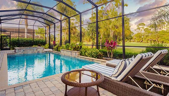 Pool with Chairs | Edgewater Pools and Spa Services - Naples, Bonita Springs, Isles of Capri, & Estero