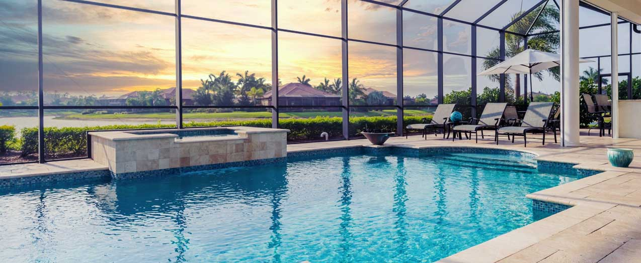 Pool with Mesh Net Cage | Edgewater Pools and Spa Services - Naples, Bonita Springs, Isles of Capri, & Estero