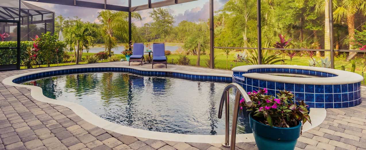 Dark Blue Tiled Pool | Edgewater Pools and Spa Services - Naples, Bonita Springs, Isles of Capri, & Estero