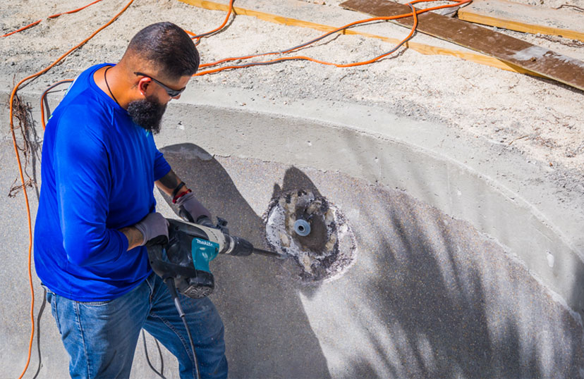 Pool Renovation Drilling Holes | Edgewater Pool Service Naples
